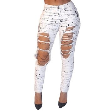 [14646] Women Denim Ripped Jeans