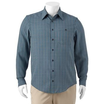 Haggar Checked Microfiber Button-Down Shirt - Big & Tall, Size: