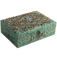 Jacquard & Beads Jewelry Box - Turquoise