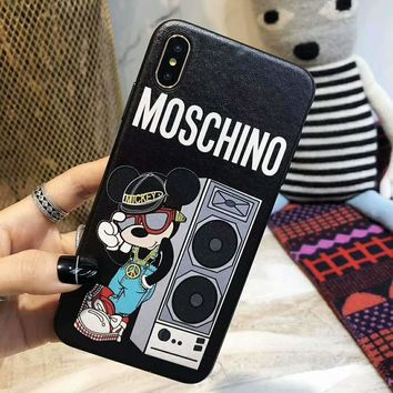 MOSCHINO HM H&M Joint Series Tide brand cartoon print iphone8plus mobile phone case cover black