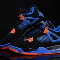 free shipping air jordan 4 retro black safety orange royal cavs basketball sneaker