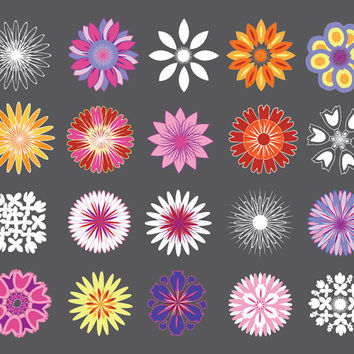 Flowers Clip Art, petal images for scrapbooking, card making, invites, DIY parties, blue, white, pink, yellow, orange, red, Buy 2 Get 1 Free