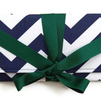 SALE Cotton ALEXIS Clutch in Navy Chevron Stripe with Forest Green