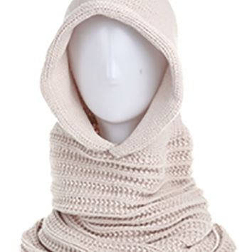 Angela & William Unisex Handmade Warm Hooded Scarf and Poncho Pullover (Khaki)