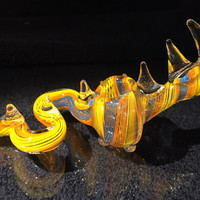 Multicolor Hand Blown Glass Smoking Pipe Spoon Style Bowl Glass Dragon Pipe 5""
