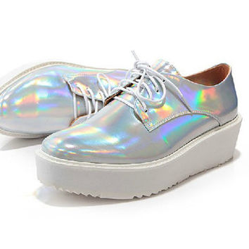 Vintage Hologram Laser Silver Lace-up Shoes,Square Toe Shoes,Platform shoes,Holographic Iridescent Leather Pony Oxford flat shoes