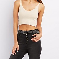 STRAPPY CROPPED SWEATER TANK