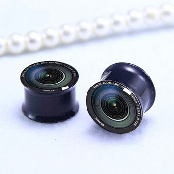 Pairs Camera  lens  ear Plug  , Screw on  Black Titanium ear plugs ,0g,00g ,1/2, 9/16, 5/8, 3/4, 7/8,women/men  ear plugs