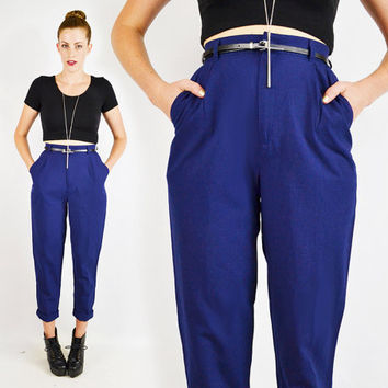 vintage 80s blue HIGH WAIST SKINNY pants / high waisted skinny pants / skinny leg pants / pleated trouser pants / skinny dress pants / xs s