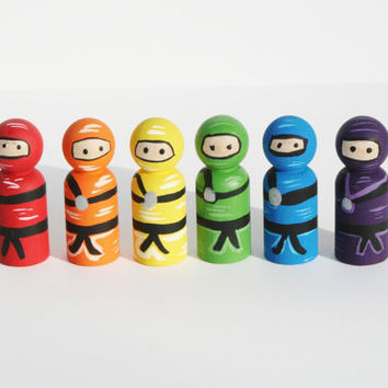 Wooden Ninja Set - Rainbow colors