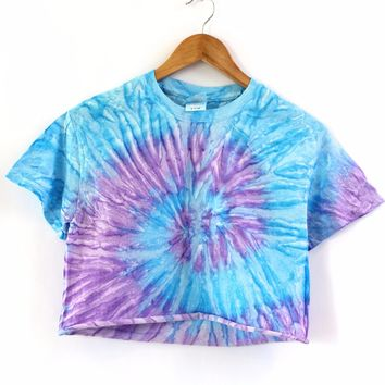 Purple and Blue Tie-Dye Cropped Tee