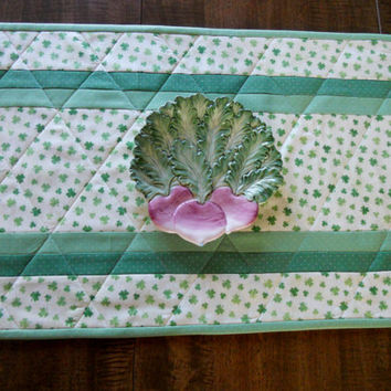St. Patricks Day Shamrocks Quilted Table Runner Table Topper