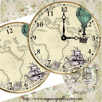 "Steampunk Travels DIY - Digital Collage - 12"" Clock Face Art, Crafts, Home and Wall Decor"