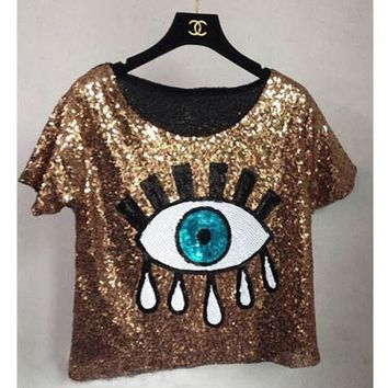Womens Tops Fashion 2016 New Crop Tops Loose Summer Short Tops Sequins Big Eyes Sexy Sequined Eyes T Shirt Casual Free Shipping
