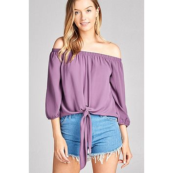 Ladies fashion 3/4 sleeve off the shoulder front self-tie crepe woven top