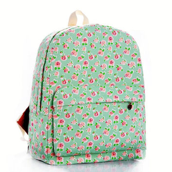 Green Floral Fashion Stylish Backpack = 4887746052