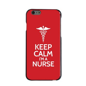 "DistinctInk® Hard Plastic Snap-On Case for Apple iPhone - Red White ""Keep Calm Im a Nurse"""