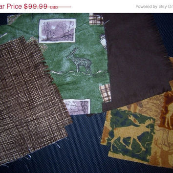 """Flannel rag quilt kit Elk Moose Deer Outdoors theme fringed die cut fabric squares batting complete ready to sew 52""""x 65.5""""."""