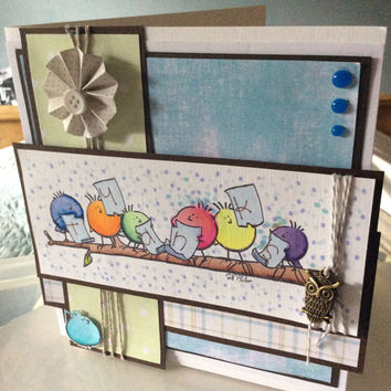 Thank you - many thanks. Handmade card. Appreciate. With love. Birds. Gesture.