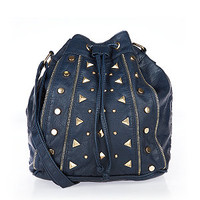 Navy Stud Zip Trim Duffle Bag