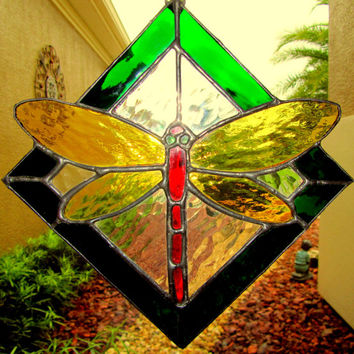 Dragonfly Stained Glass Sun Catcher/ Light Catcher  ~ Dragonfly Garden Art ~  Dragonfly Lawn Ornament ~ 8.75 X 9 Inches