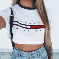 Tommy Women's Fashion Hot Sale Alphabet Print Crop Top T-shirts