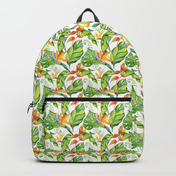 Hawaiian Tropical Leaves and Flowers Backpack by DazzetteMarie
