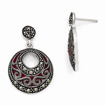 Sterling Silver Marcasite and Red Epoxy Dangle Post Earrings