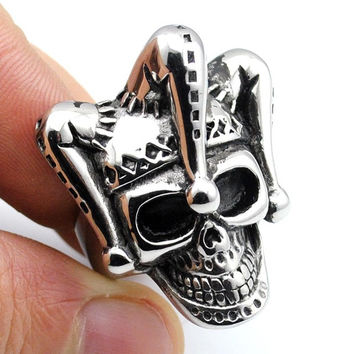 Men's 2016 Stainless Steel Charm Punk Witch Skull Rings Retro Rock Gothic Ring Man Jewelry AR434