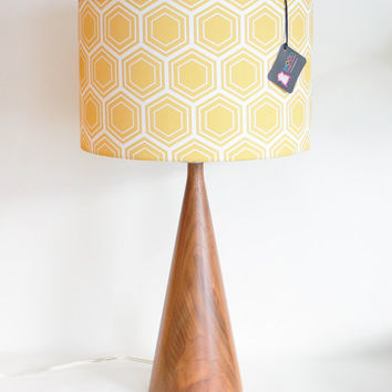 Reserved - Wedding Registry for Molly and Byron - Mid Century Inspired Black Walnut Cone Lamp with Honeycomb Shade