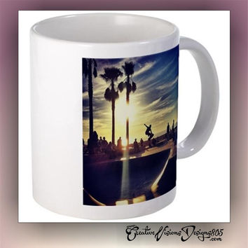 California Skate  - decorated coffee mug - custom coffee cups