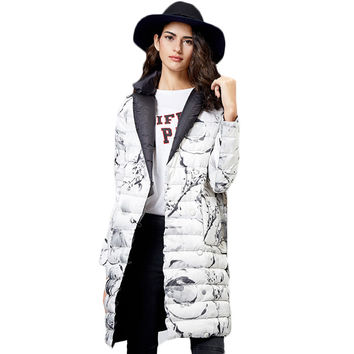 British Style Print Long Women's Down Jacket Winter 2017 New Color Blocking Collar Covered Button  Winter's Coats Female Y2242