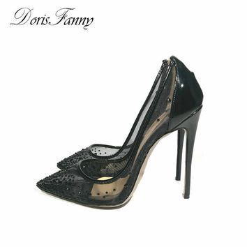 High Heels Sexy Black Summer shoes womens pumps size 13 12 see through pointed toe ladies shoes DORISFANNY