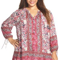 Plus Size Women's Lucky Brand Floral Woodblock Print Peasant Top,