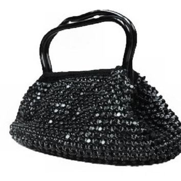 Vintage Black & Silver Beaded Gimp Purse 1940S