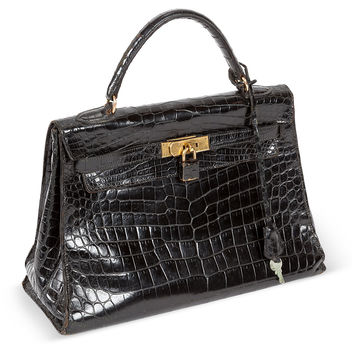 1960s Hermès Kelly Bag, Black Crocodile, Small Leather Goods