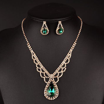 Green Rhinestoned Water Drop Necklace and Earrings