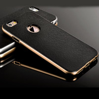 "Luxury Silicone + Hard PC Hybrid Case For Iphone 5 5S 5G & 6 6S 4.7inch & 6 6S Plus 5.5"" Neo Metal Frame Slim Logo Armor Cover"