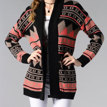 Tribal Jacquard Open Front Long Sleeve Cardigan