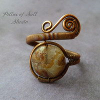 wire wrapped jewelry handmade, Copper Wire Wrapped Ring, adjustable ring, rustic earthy jewelry, Boho ring, Mexican Laguna Lace agate