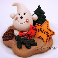 Rustic Christmas Parker StoryBook Scene - Twelve Days of Christmas Polymer Clay Character Sculpted Figurine