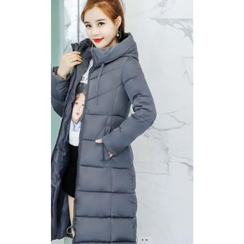 Womens Classic Puffer Hooded Long Coat in Gray