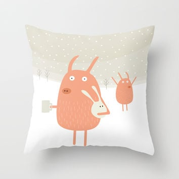 Suddenly an old friend in the snow Throw Pillow by Fuzzorama