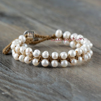 Classic Pearl Bracelet Freshwater Pearls Knotted Bracelets Handmade Bohemia Bracelet Birthday Gift Pearl Bracelet Jewelry