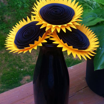 Paper Flower Bouquet - 3 Mammoth Yellow Sunflowers - Handmade Paper Flowers for Brides, Weddings, Showers, Birthdays