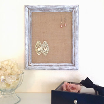 Earring Holder, Distressed White Frame and Burlap