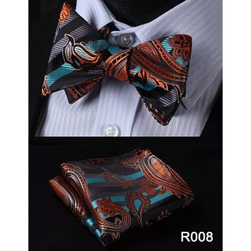 Men's Coordinated Bow Tie Set - Orange Teal Black