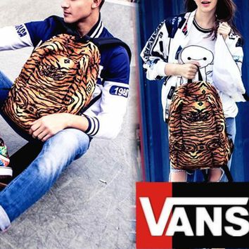 VansFashion Personality printing large capacity backpack bag leisure travel boom Yellow tiger stripes 7 style