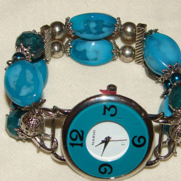 Turquoise Flat Beaded Watch, Turquoise Beaded Bracelet Watch, Womans Beaded Watch, Womans Flat Beaded Watch by BeadsnTime