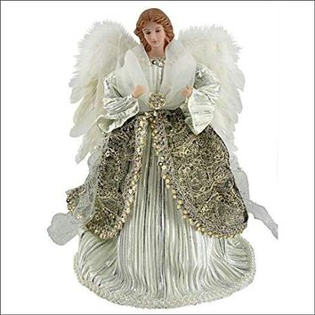 """Shimmering Angel Tree Topper, 16"""" Tall, Silver/White/Platinum"""
